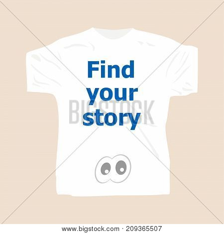 Find Your Story . Man Wearing White Blank T-shirt