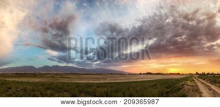 dry reservoir at sunset in the Kyrgyzstan