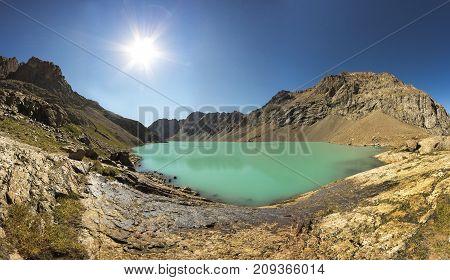 Panorama Of The Mountain Lake Tien Shan