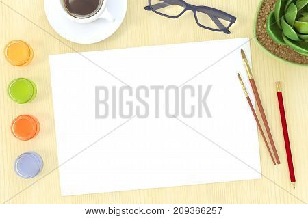 Artist workplace flat lay mockup. Top view on watercolor sketchbook. Blank painting, dye bottles, brush, coffee cup, glasses. Creative workshop, art work concept. Vintage film effect. 3D illustration