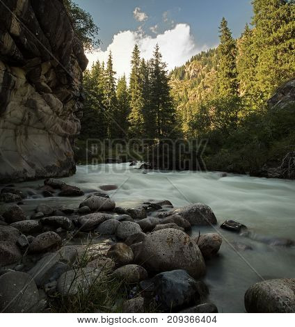 Vertical Panorama Of The Mountain River Tien Shan