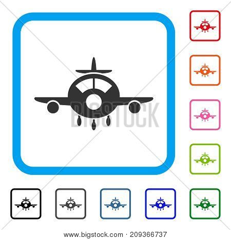Aircraft icon. Flat gray pictogram symbol inside a light blue rounded rectangle. Black, gray, green, blue, red, orange color additional versions of Aircraft vector.