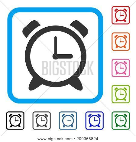 Alarm Clock icon. Flat gray iconic symbol inside a light blue rounded squared frame. Black, gray, green, blue, red, orange color additional versions of Alarm Clock vector.