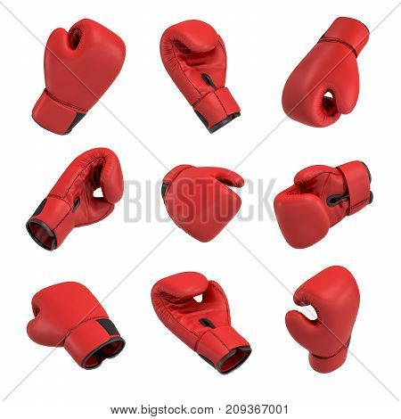 3d rendering of a red boxing glove on white background in many different angles. Fighting accessories. Sporting gear. Punching glove.