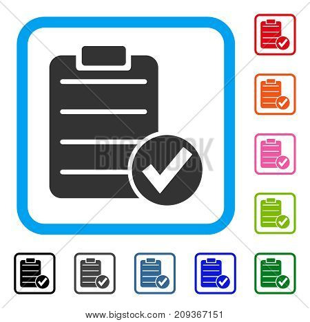 Apply Form icon. Flat grey iconic symbol inside a light blue rounded square. Black, gray, green, blue, red, orange color variants of Apply Form vector. Designed for web and software user interface.