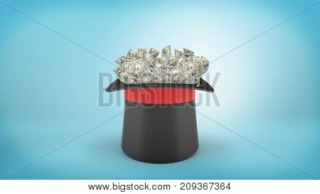 3d rendering of a large illusionist's hat stands turned upwards full of many dollar bills on blue background. Financial magic. Tricks to get rich. Prosperity and wealth.