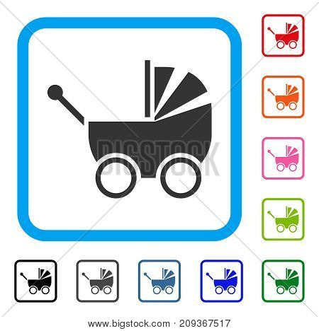 Baby Carriage icon. Flat gray iconic symbol inside a light blue rounded rectangle. Black, gray, green, blue, red, orange color additional versions of Baby Carriage vector. Designed for web and app UI.