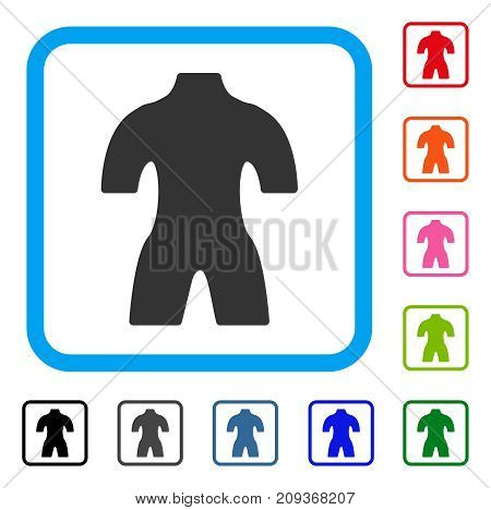Body icon. Flat grey pictogram symbol in a light blue rounded rectangular frame. Black, gray, green, blue, red, orange color additional versions of Body vector. Designed for web and app interfaces.