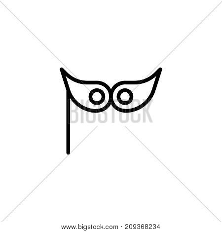 Holiday mask flat icon. Single high quality outline symbol of happy birthday for web design or mobile app. Thin line signs of holiday for design logo, visit card, etc. Outline logo of celebration