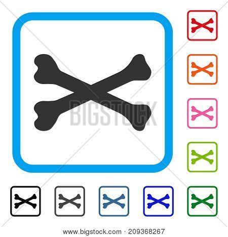 Bones icon. Flat gray pictogram symbol in a light blue rounded square. Black, gray, green, blue, red, orange color variants of Bones vector. Designed for web and app UI.