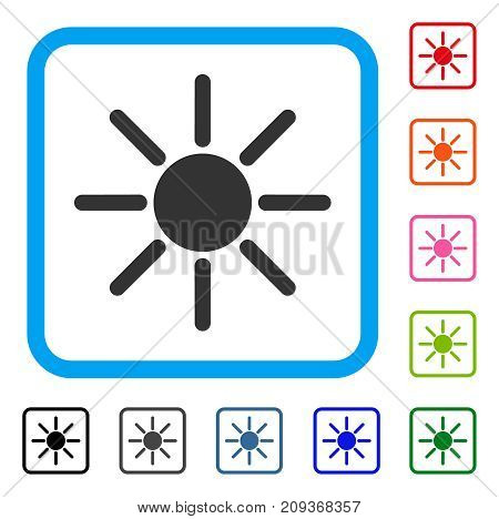 Brightness icon. Flat grey iconic symbol inside a light blue rounded squared frame. Black, gray, green, blue, red, orange color additional versions of Brightness vector.