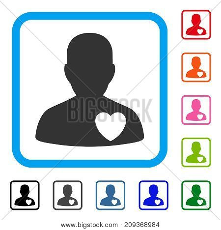 Cardiology Patient icon. Flat grey iconic symbol in a light blue rounded rectangle. Black, gray, green, blue, red, orange color versions of Cardiology Patient vector.