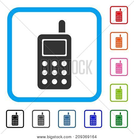 Cell Phone icon. Flat gray pictogram symbol inside a light blue rounded rectangle. Black, gray, green, blue, red, orange color variants of Cell Phone vector. Designed for web and software UI.