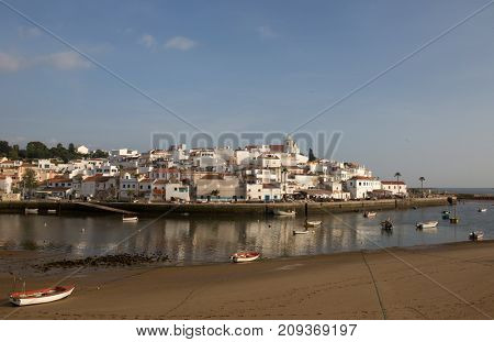 FERRAGUDO, PORTUGAL - APRIL 24, 2017: Picturesque view of Ferragudo fishing village in Algarve, Portugal