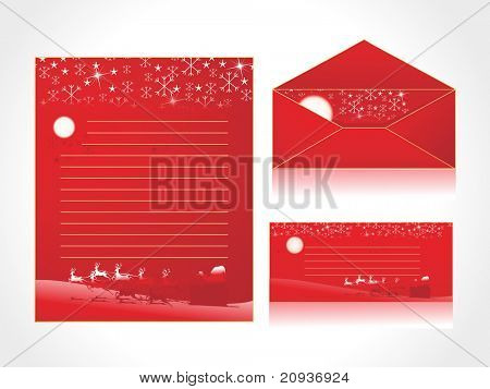 xmas letter head and envelope in red with santa sleight
