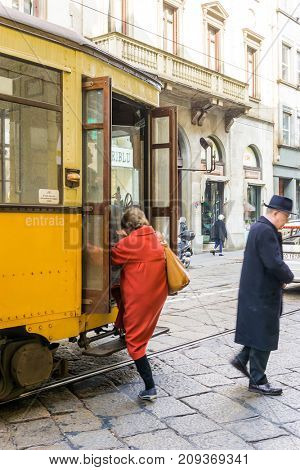 MILAN, ITALY - March 16, 2017: Tramway in Milan