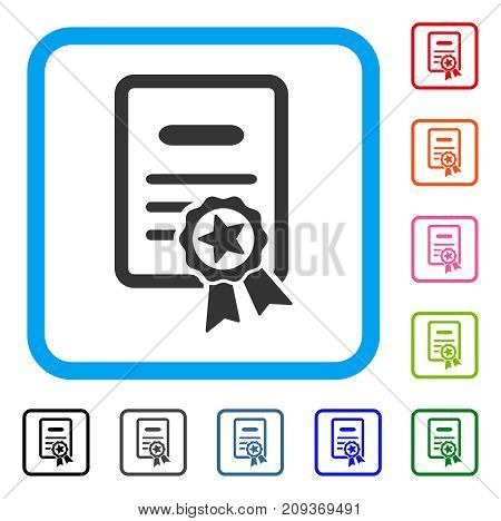 Certified Diploma icon. Flat gray iconic symbol inside a light blue rounded square. Black, gray, green, blue, red, orange color variants of Certified Diploma vector.