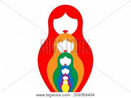 Russian nesting dolls matrioshka, set icon colorful symbol of Russia, vector isolated or white background