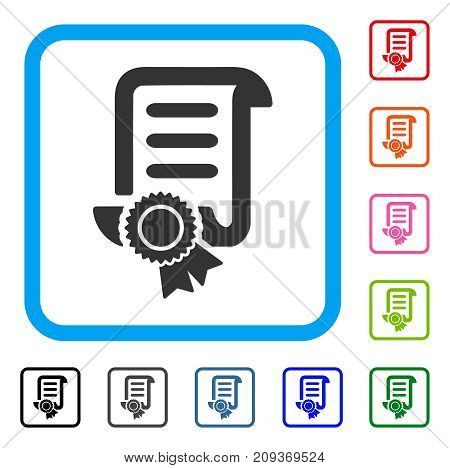 Certified Scroll Document icon. Flat gray pictogram symbol inside a light blue rounded frame. Black, gray, green, blue, red, orange color variants of Certified Scroll Document vector.