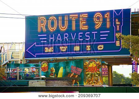 LAS VEGAS - OCT 07 ,2017 : Sign of the Route 91 HARVEST Live after the shoot incident on the Las Vegas Strip near Mandalaybay Casino and Resort.
