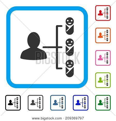Children Links icon. Flat gray pictogram symbol inside a light blue rounded rectangle. Black, gray, green, blue, red, orange color variants of Children Links vector. Designed for web and app UI.