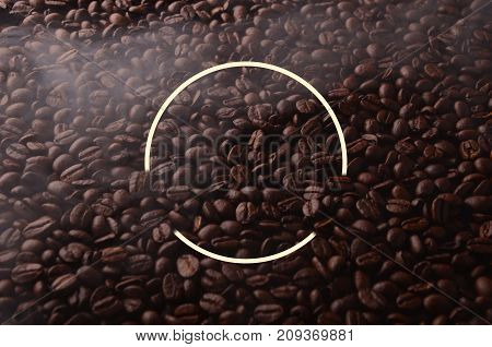 Coffee Beans With Creative Circle Element For Graphical Uses.