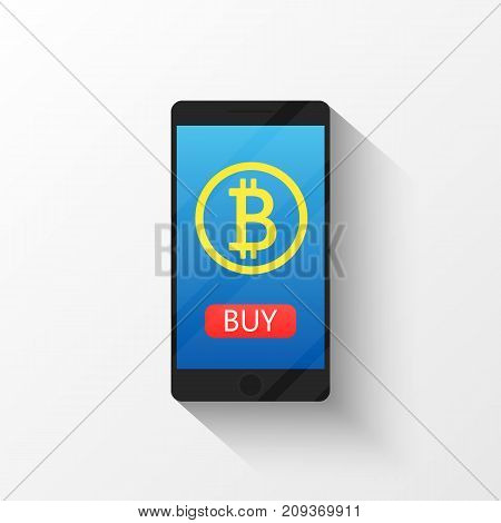Bitcoin digital wallet flat icon design symbol isolated vector illustration. Crypto currency. Smartphone with a sign bitcoin.
