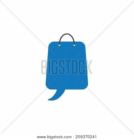 Flat design style vector illustration concept of blue shopping bag symbol icon with speech bubble on white background.