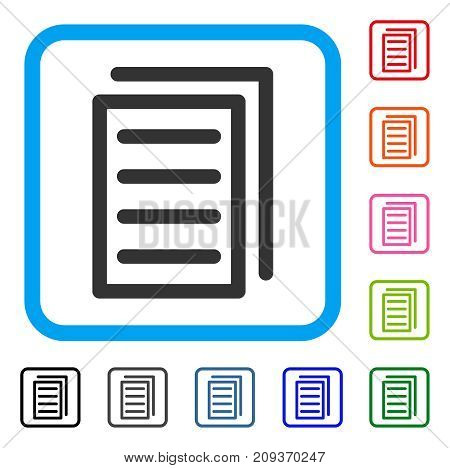 Copy Document icon. Flat gray iconic symbol in a light blue rounded frame. Black, gray, green, blue, red, orange color variants of Copy Document vector. Designed for web and application UI.