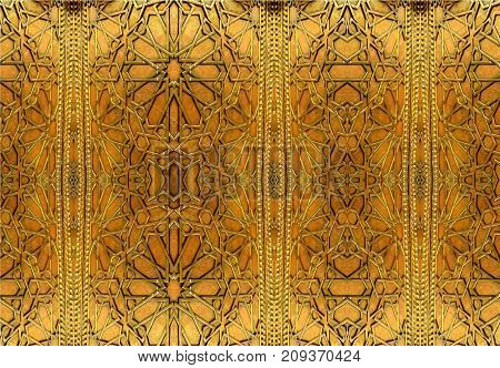 Oriental iron designs and ornaments.  The painting depicts oriental patterns on the iron door.