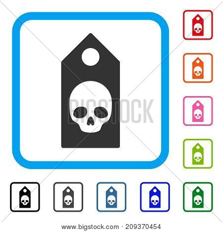 Death Coupon icon. Flat grey iconic symbol in a light blue rounded rectangle. Black, gray, green, blue, red, orange color variants of Death Coupon vector. Designed for web and app UI.