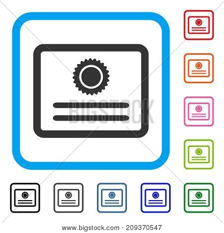Diploma icon. Flat gray iconic symbol in a light blue rounded square. Black, gray, green, blue, red, orange color additional versions of Diploma vector. Designed for web and app interfaces.