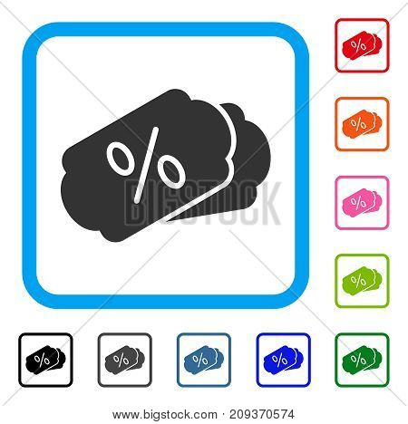 Discount Coupons icon. Flat grey iconic symbol in a light blue rounded rectangular frame. Black, gray, green, blue, red, orange color additional versions of Discount Coupons vector.