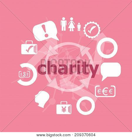 Text Charity. Social Concept . Set Of Flat Icons For Mobile App And Web