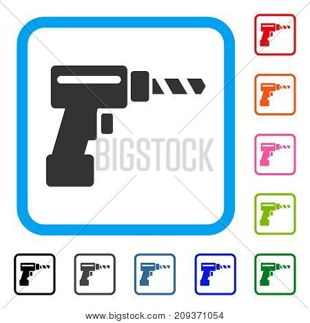 Drill icon. Flat gray pictogram symbol in a light blue rounded frame. Black, gray, green, blue, red, orange color additional versions of Drill vector. Designed for web and application user interface.