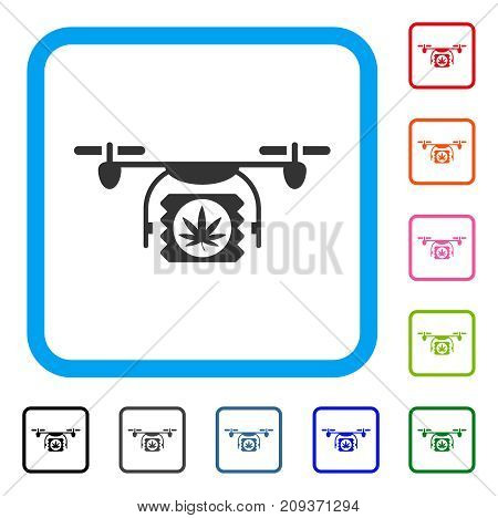 Drugs Drone Shipment icon. Flat grey iconic symbol inside a light blue rounded square. Black, gray, green, blue, red, orange color versions of Drugs Drone Shipment vector.