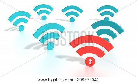 Red wifi symbol among blue wireless icons on white where the dot has a keyhole compromised WPA2 wifi network cybersecurity 3D illustration