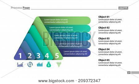 Five elements process chart slide template. Business data. Review, diagram, design. Creative concept for infographic, presentation, report. Can be used for topics like marketing, finance, production.