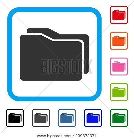 Folders icon. Flat grey iconic symbol inside a light blue rounded frame. Black, gray, green, blue, red, orange color additional versions of Folders vector. Designed for web and app user interface.