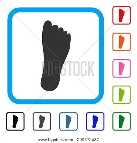 Foot icon. Flat gray pictogram symbol inside a light blue rounded squared frame. Black, gray, green, blue, red, orange color variants of Foot vector. Designed for web and app UI.