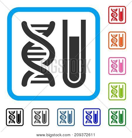 Genetic Analysis icon. Flat gray pictogram symbol inside a light blue rounded rectangle. Black, gray, green, blue, red, orange color versions of Genetic Analysis vector.