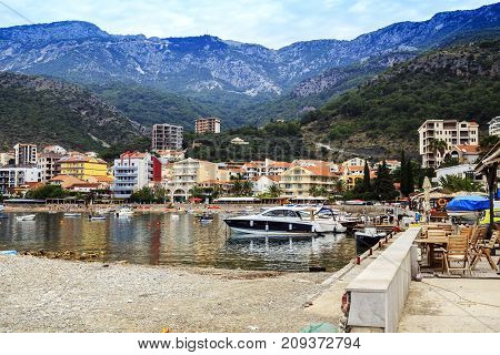 RAFAILOVICI, MONTENEGRO - SEPTEMBER 9, 2013: This is one of the small resort villages on the Adriatic coast in the autumn.