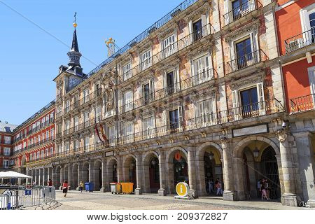 MADRID, SPAIN - MAY 24, 2017: This is the historic building in the Plaza Mayor which is called Casa de la Panaderia.