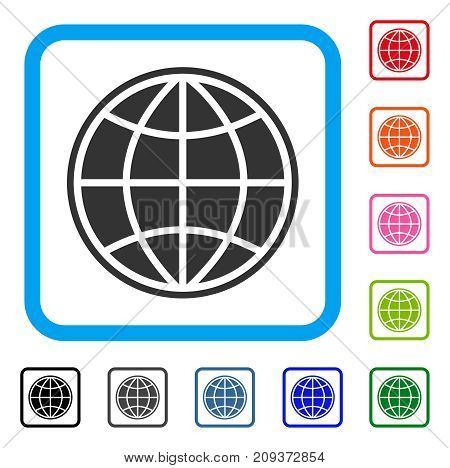 Globe icon. Flat gray pictogram symbol inside a light blue rounded rectangular frame. Black, gray, green, blue, red, orange color versions of Globe vector. Designed for web and app user interface.