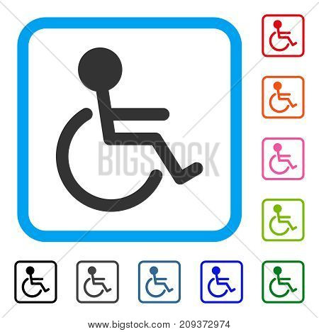 Handicapped icon. Flat gray iconic symbol inside a light blue rounded squared frame. Black, gray, green, blue, red, orange color additional versions of Handicapped vector.