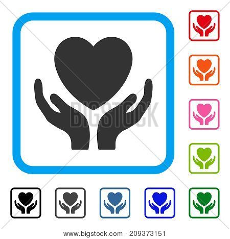 Heart Care icon. Flat grey iconic symbol inside a light blue rounded square. Black, gray, green, blue, red, orange color variants of Heart Care vector. Designed for web and software user interface.