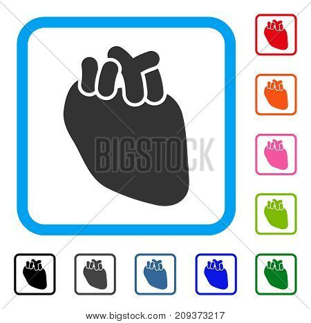Heart Organ icon. Flat grey iconic symbol in a light blue rounded squared frame. Black, gray, green, blue, red, orange color versions of Heart Organ vector.