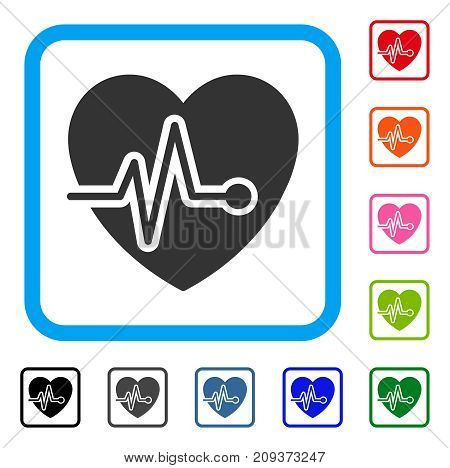 Heart Pulse icon. Flat grey iconic symbol inside a light blue rounded frame. Black, gray, green, blue, red, orange color additional versions of Heart Pulse vector.