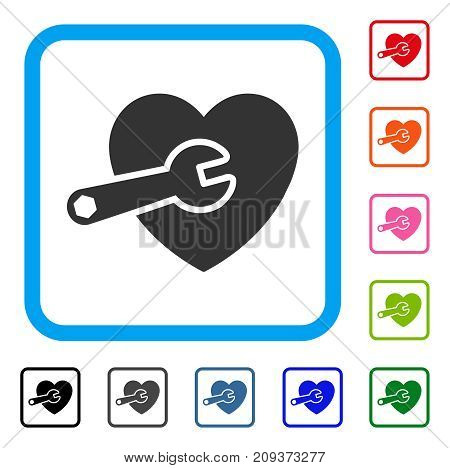 Heart Surgery icon. Flat gray iconic symbol in a light blue rounded squared frame. Black, gray, green, blue, red, orange color versions of Heart Surgery vector.