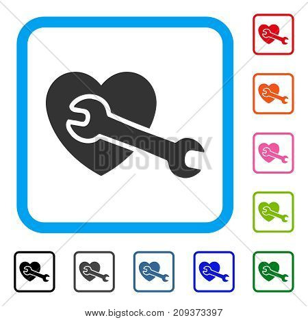Heart Surgery icon. Flat gray pictogram symbol in a light blue rounded squared frame. Black, gray, green, blue, red, orange color variants of Heart Surgery vector.
